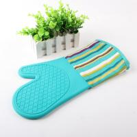 Half Silicone Half Cotton Heat Insulating Cooking Kitchen Oven Mitts Stripe Pattern