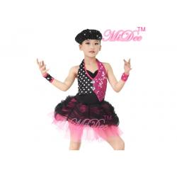 China White Polka Dots Fuchsia Sequin Ballet Jazz Dance Costumes For Girls ODM Service on sale