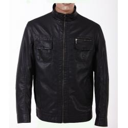 China No buttons Casual jackets Two side pockets  Mens Lightweight Leather Jackets on sale