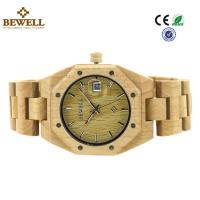 Custom Bewell Women Size Lux Maple Wood Watch With Calendar And Japan Movement