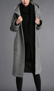 Long Wool blend Hooded Young Ladies Fashion Coats A Line Winter ...