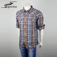 Eco Friendly Mens Slim Fit Casual Shirts , Printed Casual Shirts 100% Cotton Checked