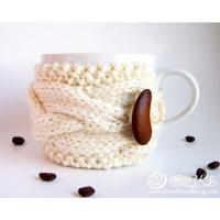 coffee mug Crochet Cup Cozy with bean bottons , Knitted Wraparound Cable Design