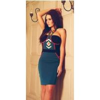 2013 new teal and gold tribal print bodycon dress,sexy party dress