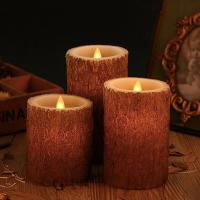 Set of 3 Bark Simulation Pillar LED Candles with 10-Key Remote and Cycling 24 Hours Timer