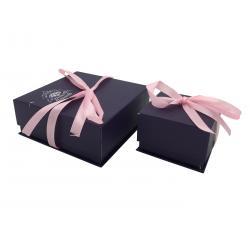 China Black Jewelry Cardboard Box With Ribbon , Cardboard Jewelry Gift Boxes on sale