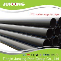 China PE100 water supply black hdpe pipe for water with blue line 200mm on sale