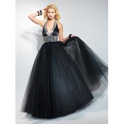 China Halter V Neck Floor Tulle Black Quinceanera Party Dresses with Empire Waist on sale