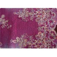 Purple Home Textile Embroidered Fabrics High End Apparel Fabric