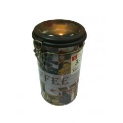 China Cylindroid Black Tin Tea Canisters For Coffe / Candy / Powder on sale