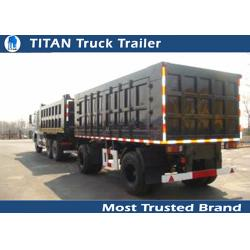 China Sand , stone transportation heavy duty cargo box trailer draw bar with 2 axles on sale