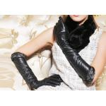 Fashion Warm Winter Ladies Long Leather Gloves With Elastic Wrist Lace Leather Cuff