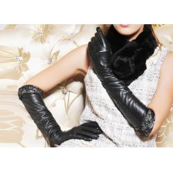 China Fashion Warm Winter Ladies Long Leather Gloves With Elastic Wrist Lace Leather Cuff on sale