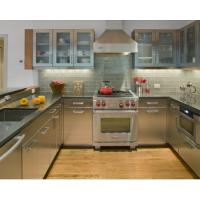 Integrated U Shape Stainless Steel Kitchen With Grey Countertop And Glass Wall Door
