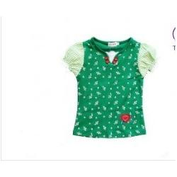 China Cotton Girl Green Polka Dot Toddler Graphic Tees, Skirt Autu With Princess Sleeves on sale