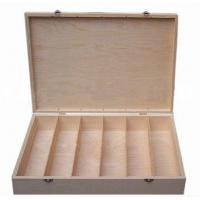 Wooden Wine Boxes 6 Bottles Storage box, hinged & clasp dividers