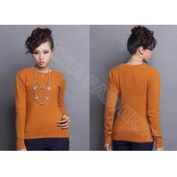 China Autumn Winter Orange Women Crew Neck Sweater Fine Knit Clothing With Long Sleeve on sale