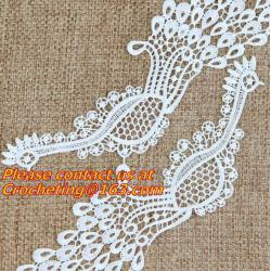 China White Fabric Venice Floral Flower Motif Lace Trim Sew Applique Craft DIY on sale