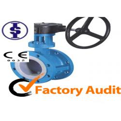 China Automated Ductile Iron Gear Operated Butterfly Valve Lug Style , PTFE Lined on sale