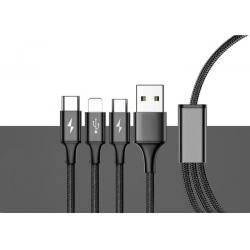 China Multiple USB Charger Cable / Charging Cord with 8Pin Lightning / Micro USB Connectors on sale