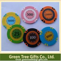 14g 3 Color Crown Monte Carlo Clay Poker Chip With Gold Trim Sticker