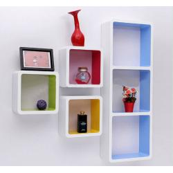 China Paint Finished Wooden Retail Display Cabinets Wall Hanging Cubes Countertop On Sale