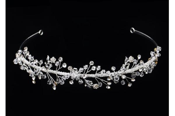 Nupcial Tiaras Y coronas hechas a mano y con plata de cristal pequeñas placas para mujeres