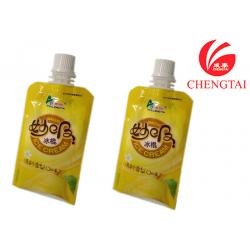 China Yellow Color Gravure printing Stand Up Pouch with Spout for Ice Cream Packaging on sale