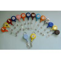 Different Color Plastic Badge Holder , Lanyard Pouch Holder With Metal Clip