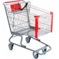 Unfolding Steel Supermarket Shopping Carts, small grocery shopping trolleys 4 wheels