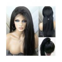 Straight Natural Black 100% Premium Virgin Human Hair Lace Front Wig 180%  Density With Bundles