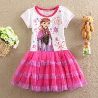 Wholesale Frozen Pink Girl Dress Short Sleeve Summer Dress for 2014 Popular Children Dres