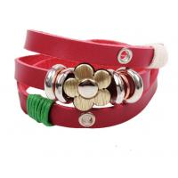 Triple wrap red leather bracelets brass flower charm