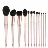 High quality soft touch real hair makeup brush set OEM cosmetic brush set factory