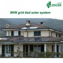 China Home Rooftop 8KW Grid Tied Solar Power System Mounting 220 - 240V on sale