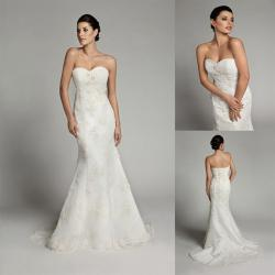 China Sleeveless Mermaid Long Train Tulle Sweetheart Wedding Gowns with Open Back on sale