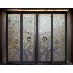2 panels and 2 sliding tempered glass doors 2 panels and for Decorative tempered glass panels