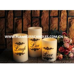 China Home Decoration Round Flameless LED Pillar Candles With Real Wax and Black Printing on sale
