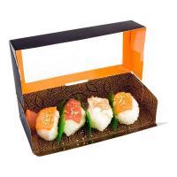 Sushi Paper Box with Window Logo Printing Custom Brown Food Packaging White Cardboard