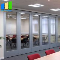 Wood Movable Partition Walls With Tempered Glass For Conference Room