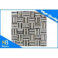 Dark Emperador Waterjet Marble Mosaics Subway Pattern Polished Tile for Exterior / Interior Wall