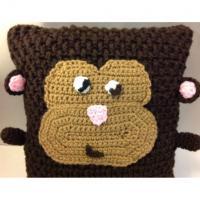 Handmade Crochet Knit Monkey Ape Chimp Plush Pillow Room Nursery Decor