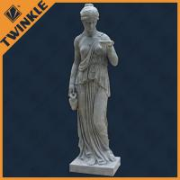 Woman Natural Stone Sculptures / Decorative Garden Statue For 100% Hand Carving