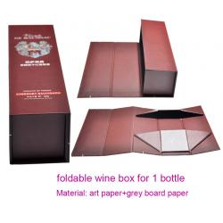 China Luxury Foldable Cardboard Wine Gift Box for Sale, Wine Packaging Bottle Box for 1 Bottle on sale