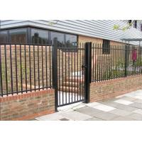 Black Powder Coated Backyard Metal Fence / Metal Security Fencing For 3 Rails