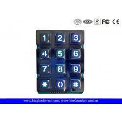 China Phone Booth Usb Industrial Numeric Keypad Metal With 12 Blue Backlight Keys on sale