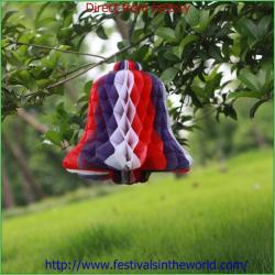 China Christmas ring bell decoration paper honeycomb bell decoration paper crafts on sale