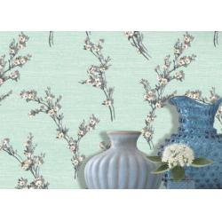 China Wide Green Leaf Pattern Dining Room Wallpaper with Non - woven Paper , Adult Style on sale