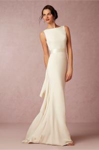 Ivory Silk Sheath Backless Wedding Dress With A Striking Ruffled ...