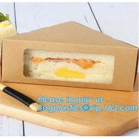 Kraft Triple Sandwich Wedge Box with Window Recyclable Paper Lunch Container Boxes,Promotional Triangle Sandwich Paper B